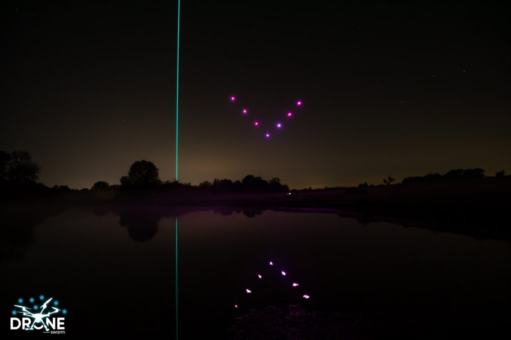 Lasers and LED Drone Light Show over water