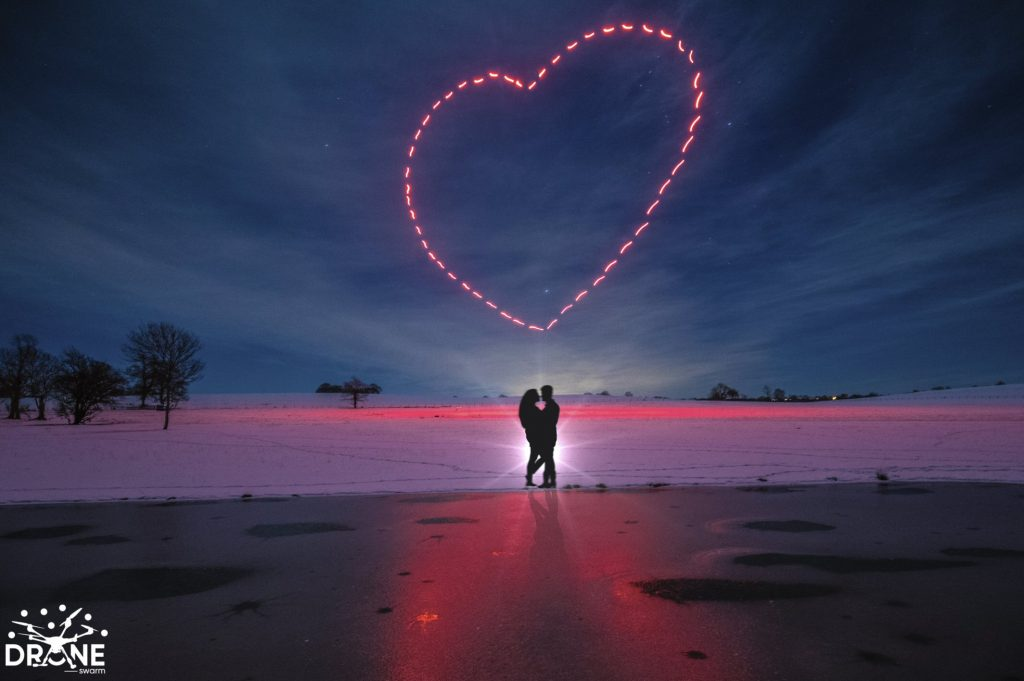 Drone Swarm Light Show Heart Valentines Day